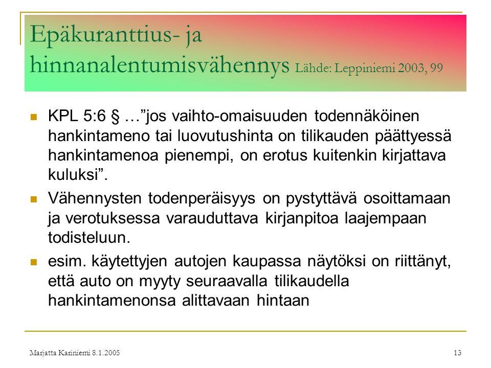 Epäkuranttius- ja hinnanalentumisvähennys Lähde: Leppiniemi 2003, 99