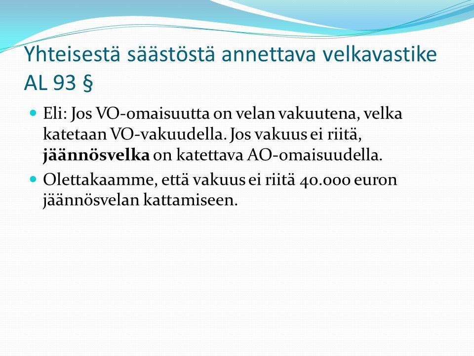 Yhteisestä säästöstä annettava velkavastike AL 93 §