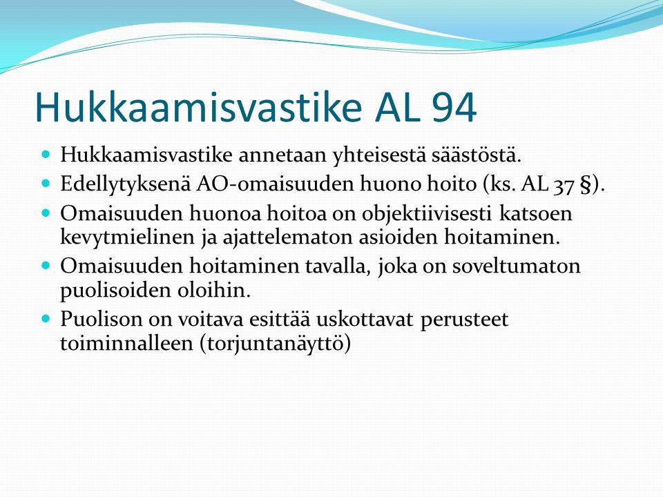 Hukkaamisvastike AL 94 Hukkaamisvastike annetaan yhteisestä säästöstä.