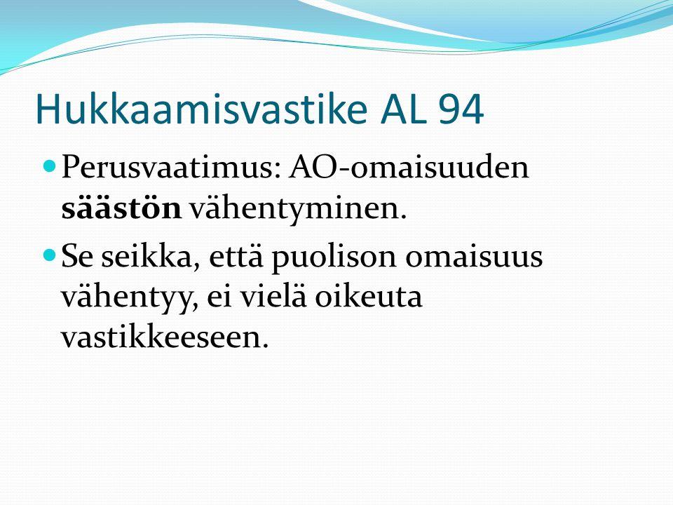 Hukkaamisvastike AL 94 Perusvaatimus: AO-omaisuuden säästön vähentyminen.