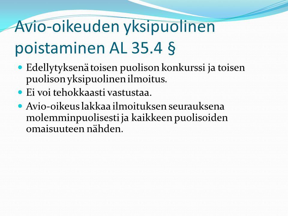 Avio-oikeuden yksipuolinen poistaminen AL 35.4 §