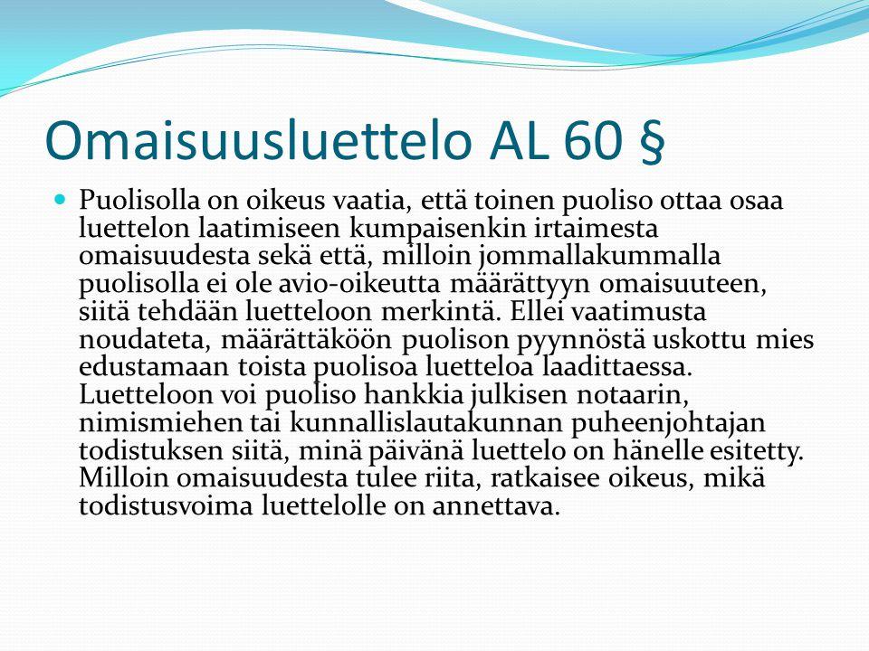 Omaisuusluettelo AL 60 §