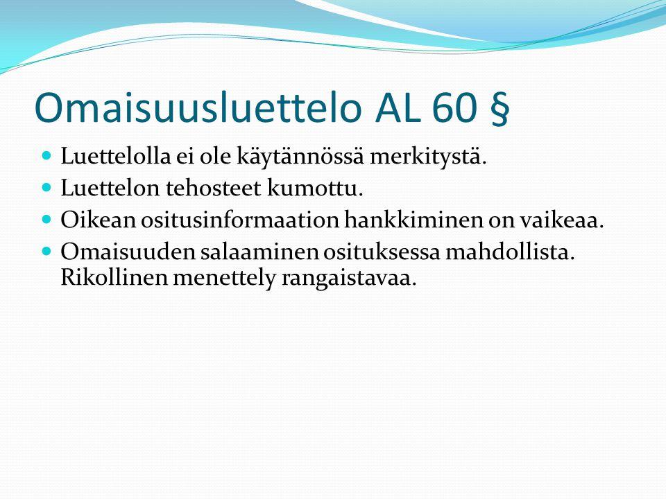 Omaisuusluettelo AL 60 § Luettelolla ei ole käytännössä merkitystä.