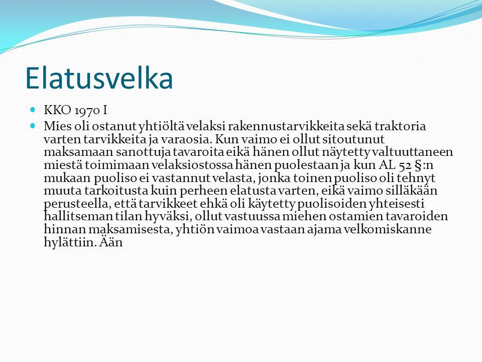 Elatusvelka KKO 1970 I.