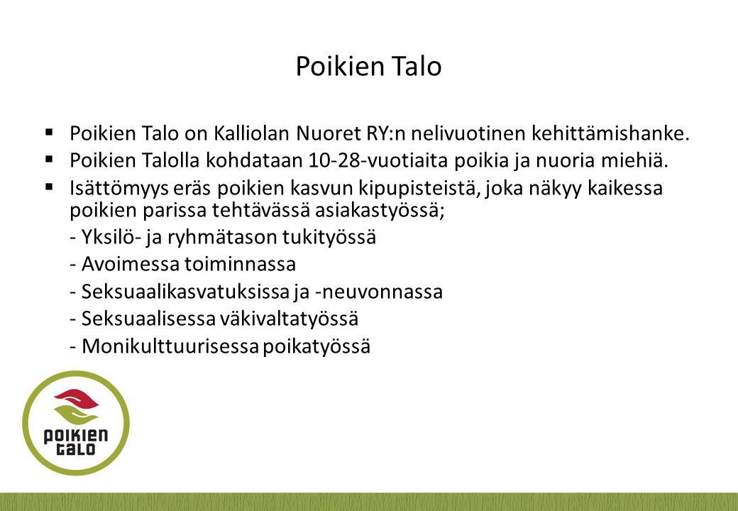 Poikien Talo Poikien Talo on Kalliolan Nuoret RY:n nelivuotinen kehittämishanke. Poikien Talolla kohdataan 10-28-vuotiaita poikia ja nuoria miehiä.