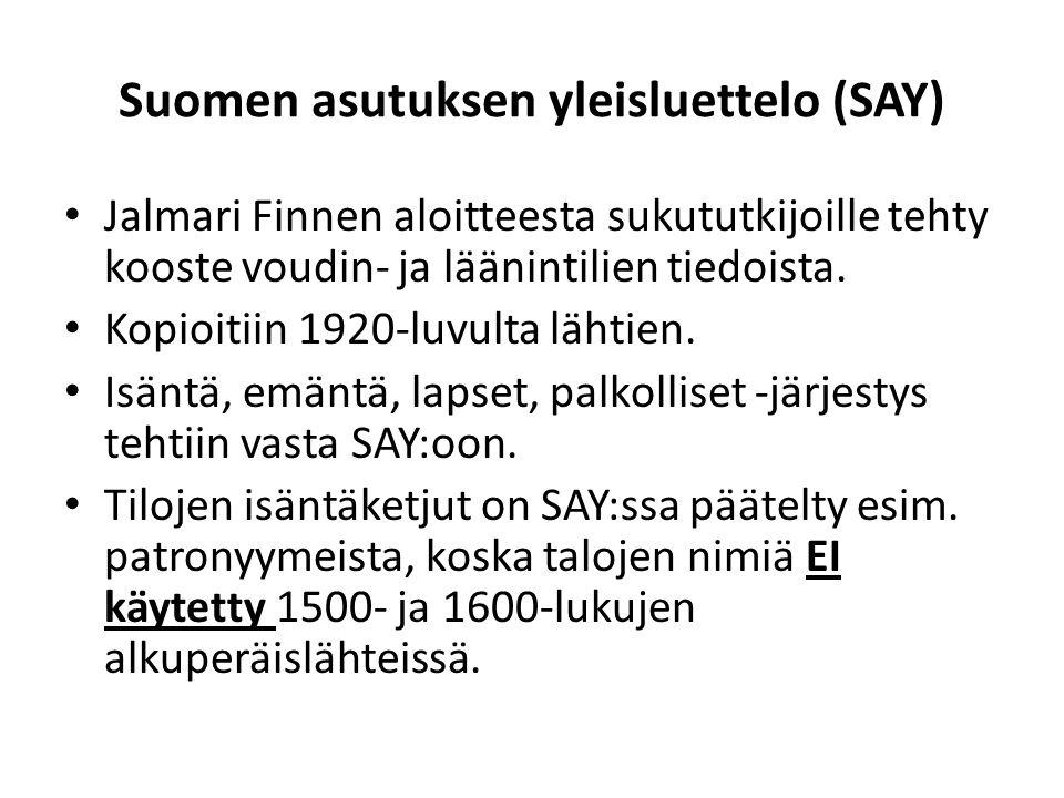 Suomen asutuksen yleisluettelo (SAY)