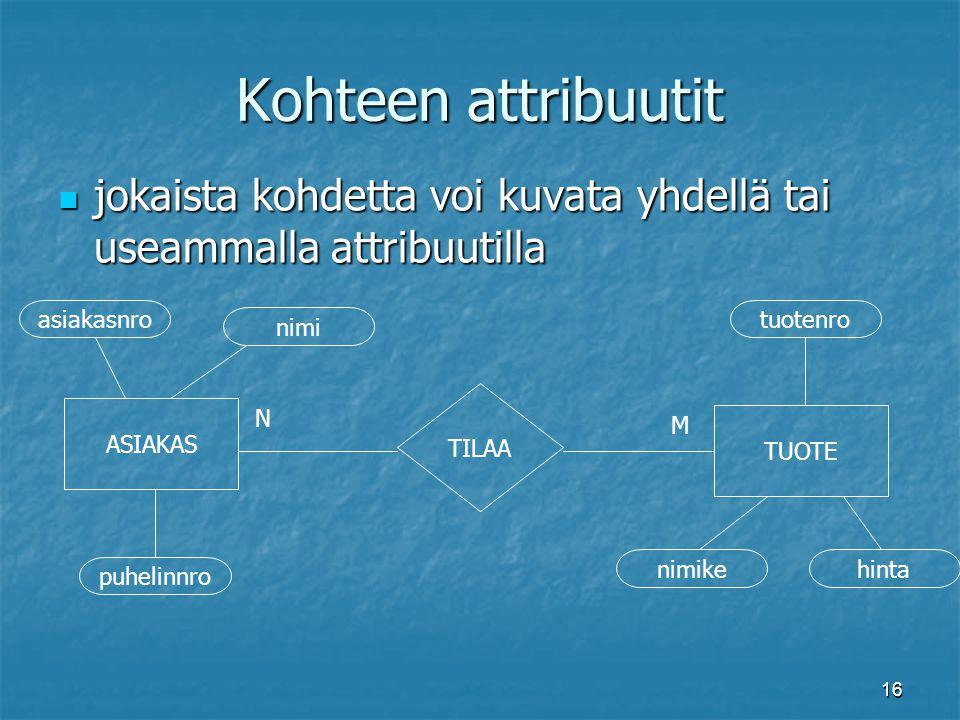 Kohteen attribuutit jokaista kohdetta voi kuvata yhdellä tai useammalla attribuutilla. asiakasnro.