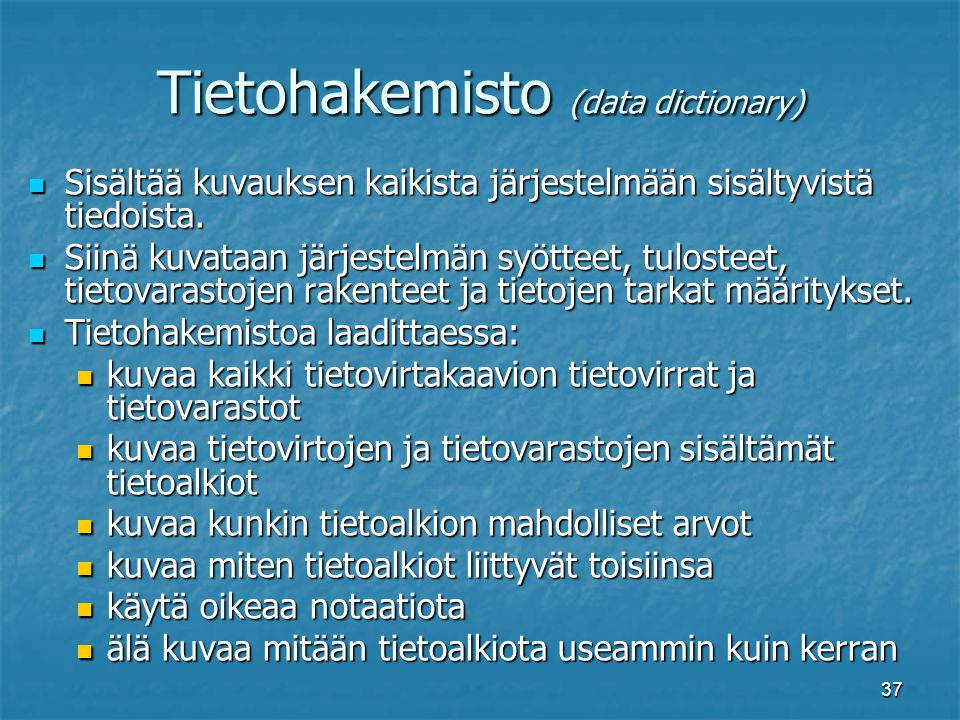 Tietohakemisto (data dictionary)