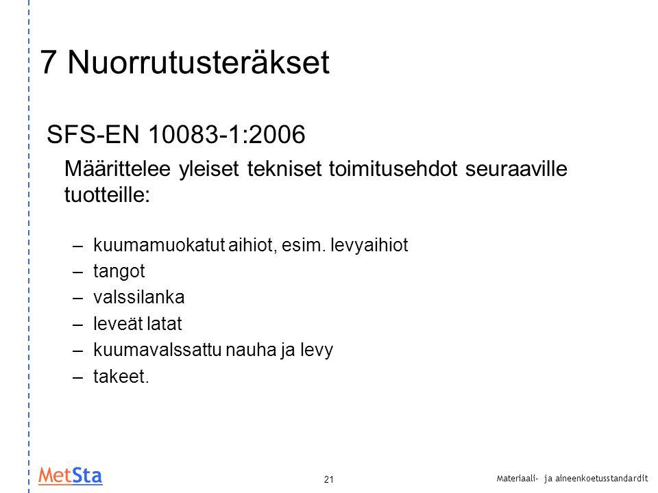 7 Nuorrutusteräkset SFS-EN 10083-1:2006