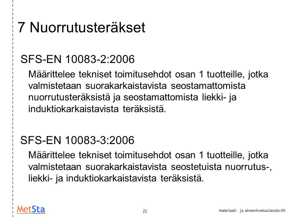 7 Nuorrutusteräkset SFS-EN 10083-2:2006