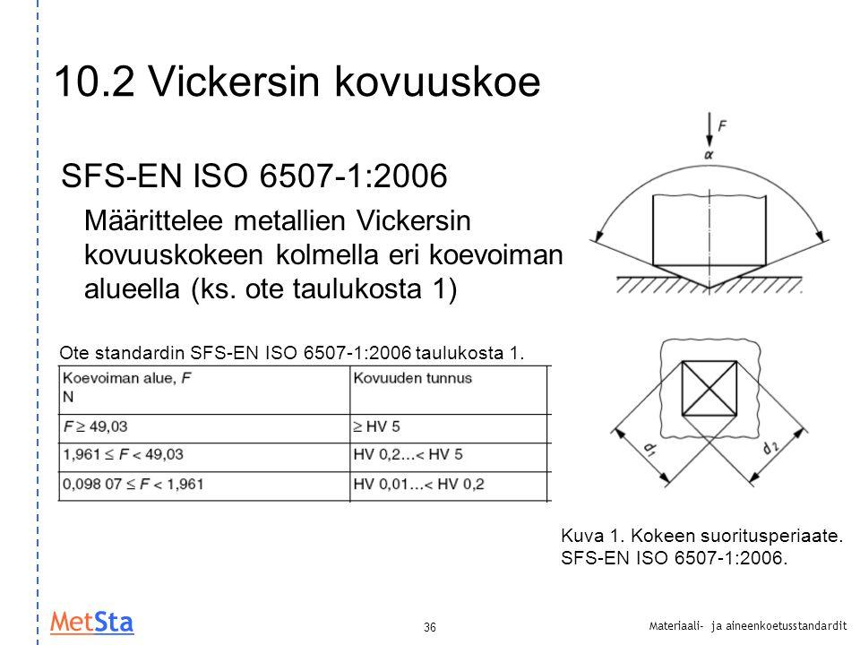 10.2 Vickersin kovuuskoe SFS-EN ISO 6507-1:2006