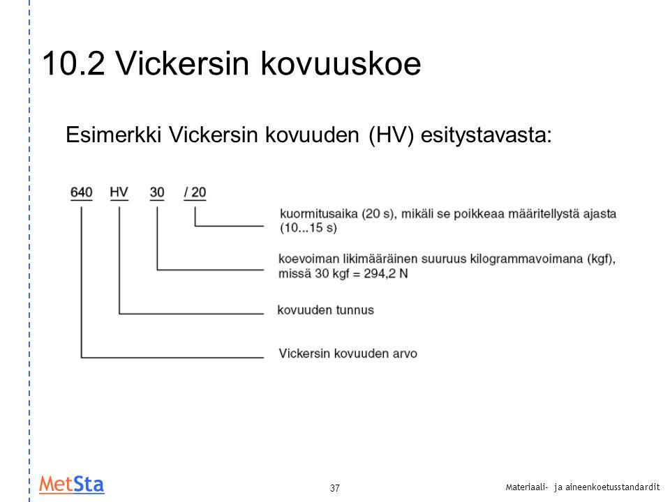10.2 Vickersin kovuuskoe Esimerkki Vickersin kovuuden (HV) esitystavasta: 37