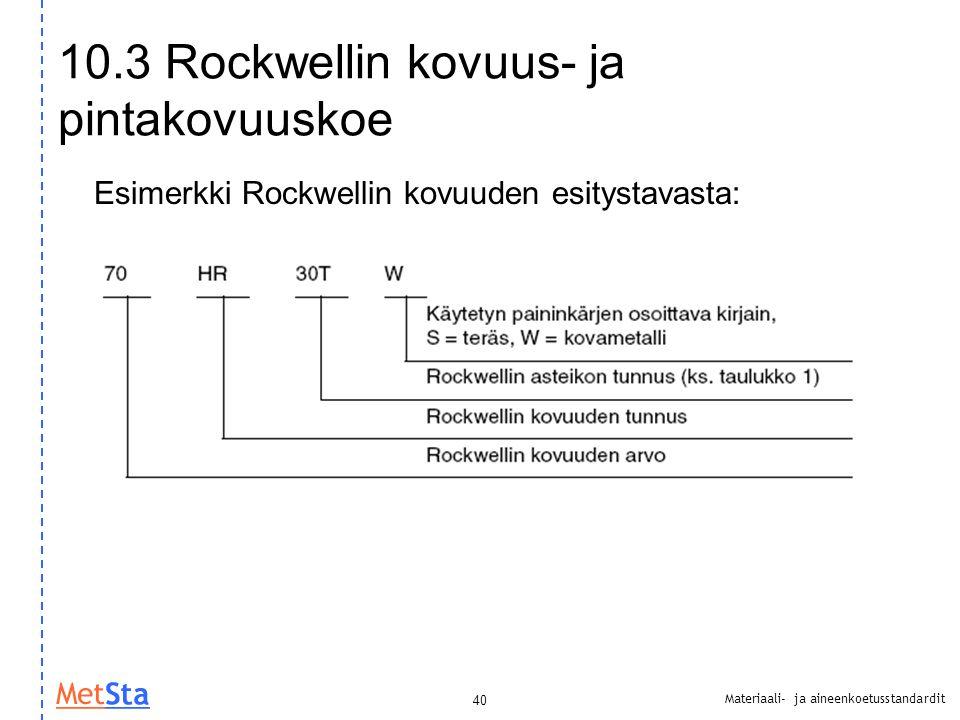 10.3 Rockwellin kovuus- ja pintakovuuskoe