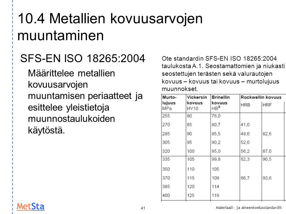10.4 Metallien kovuusarvojen muuntaminen