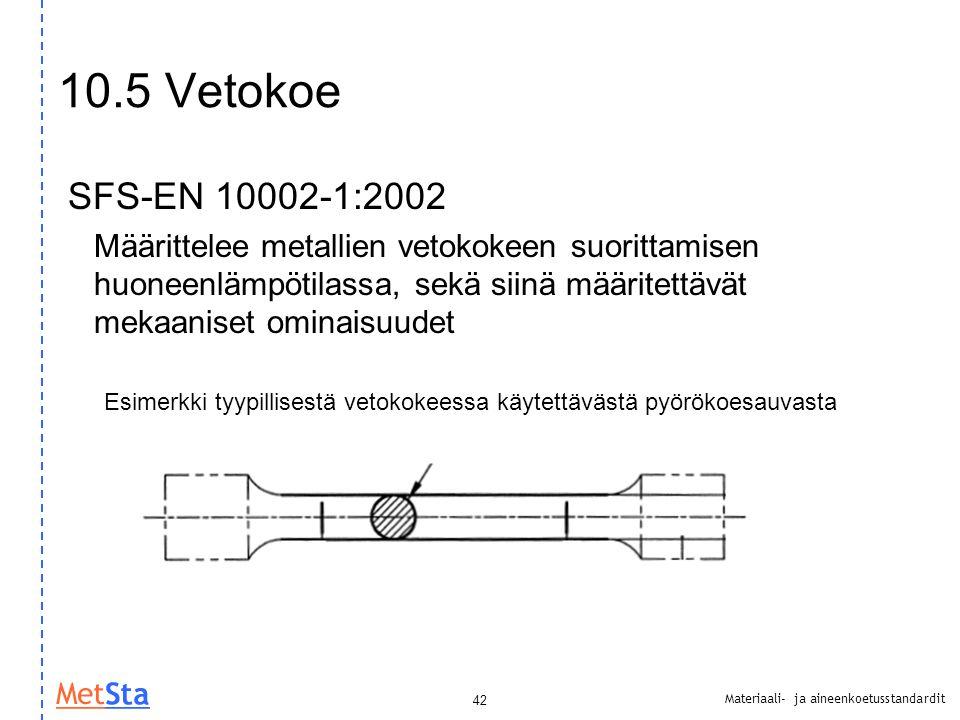 10.5 Vetokoe SFS-EN 10002-1:2002.