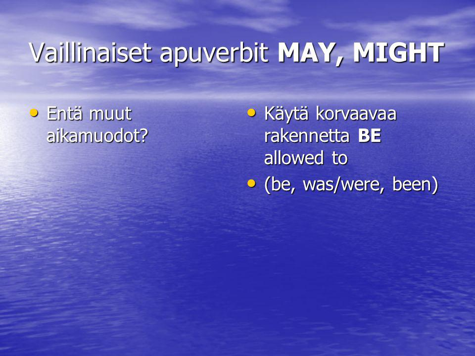 Vaillinaiset apuverbit MAY, MIGHT