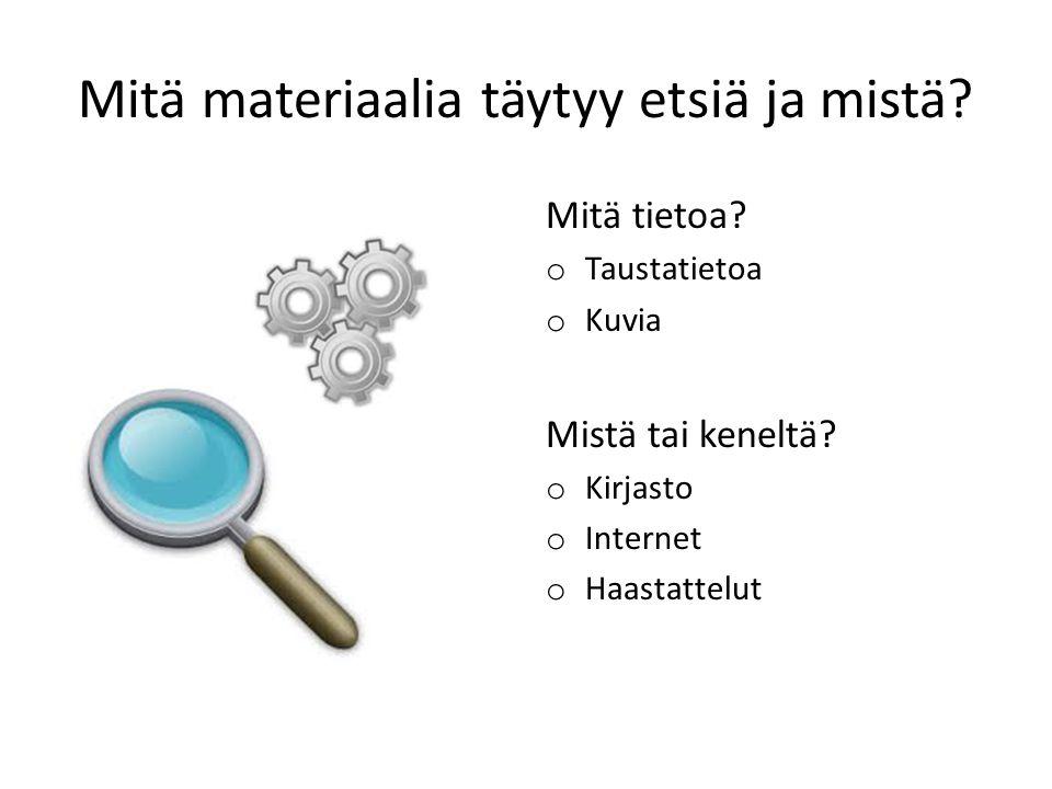 Mitä materiaalia täytyy etsiä ja mistä