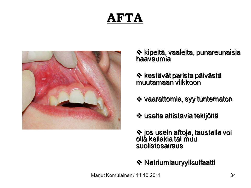 AFTA kipeitä, vaaleita, punareunaisia haavaumia