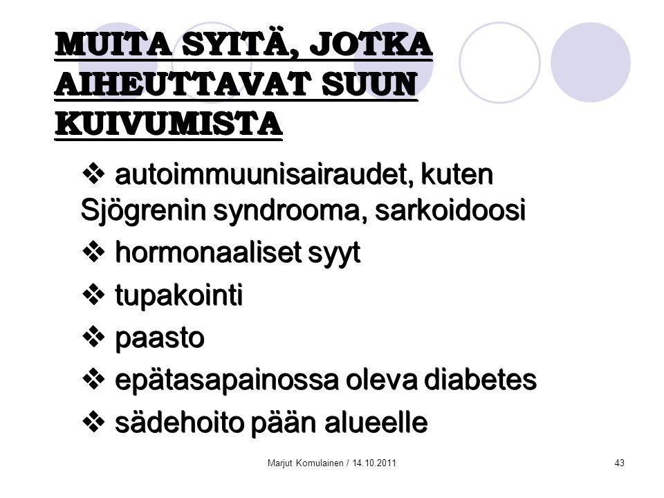 MUITA SYITÄ, JOTKA AIHEUTTAVAT SUUN KUIVUMISTA