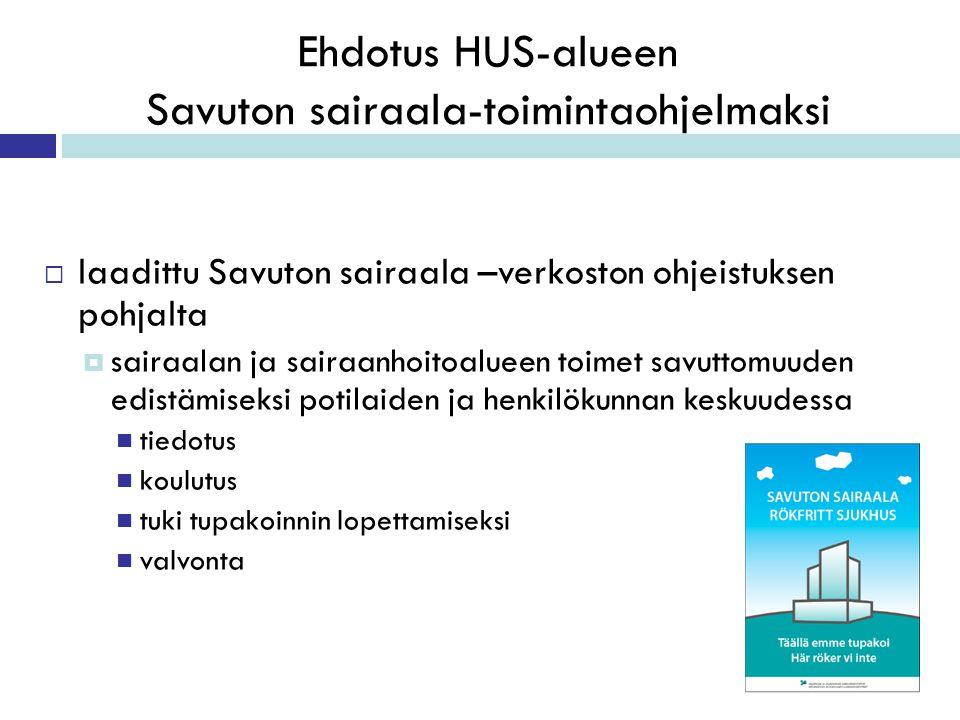 Ehdotus HUS-alueen Savuton sairaala-toimintaohjelmaksi