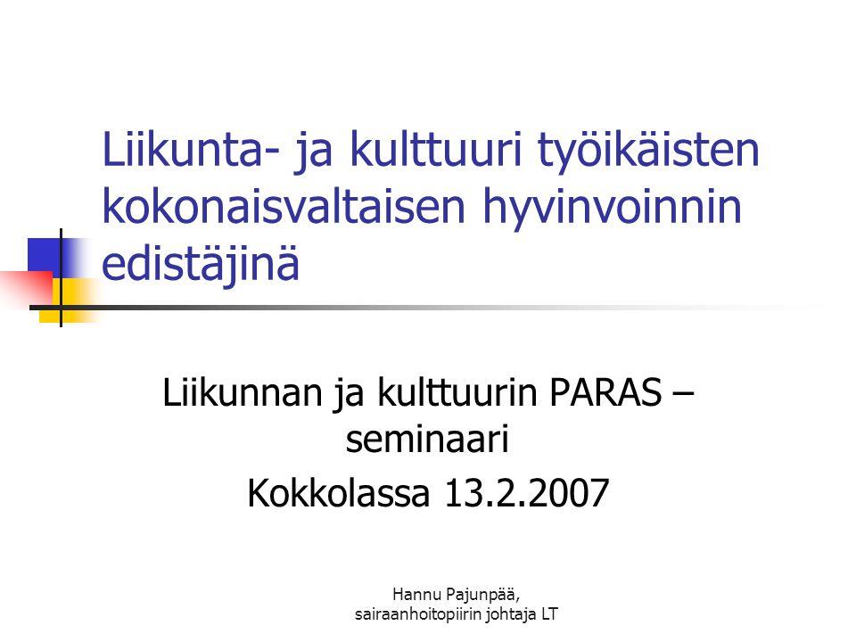 Liikunnan ja kulttuurin PARAS –seminaari Kokkolassa 13.2.2007