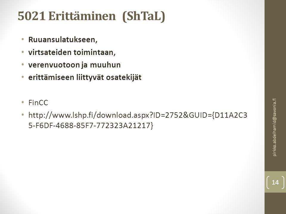 5021 Erittäminen (ShTaL) Ruuansulatukseen, virtsateiden toimintaan,
