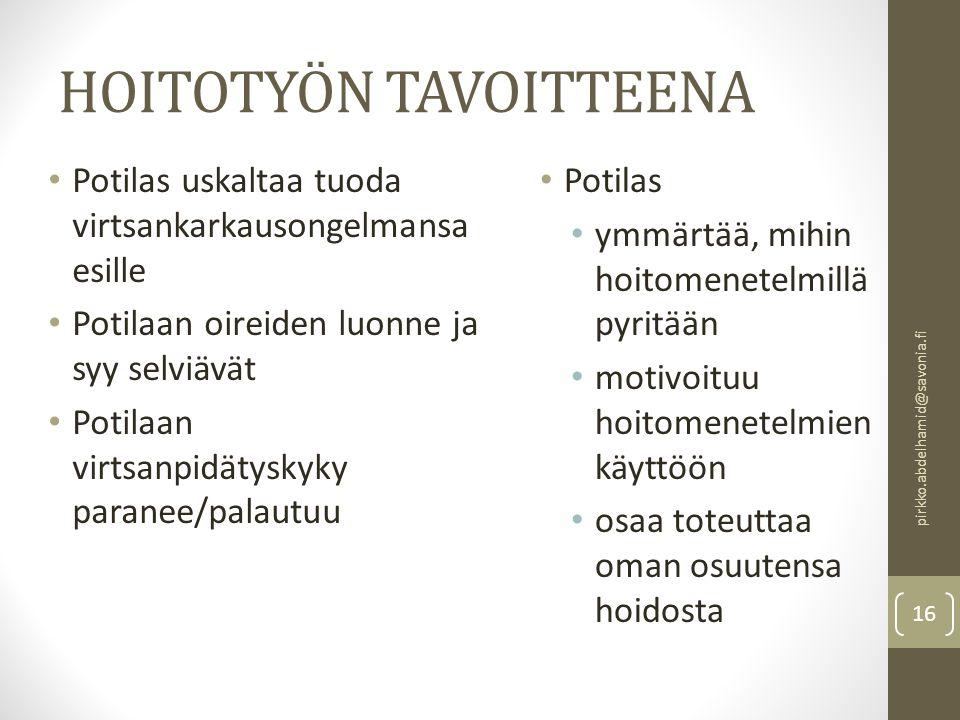 HOITOTYÖN TAVOITTEENA