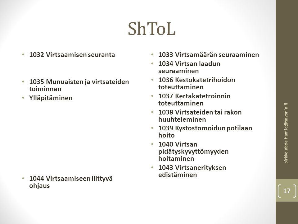 ShToL 1032 Virtsaamisen seuranta