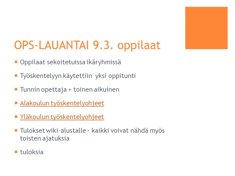 OPS-LAUANTAI 9.3. oppilaat