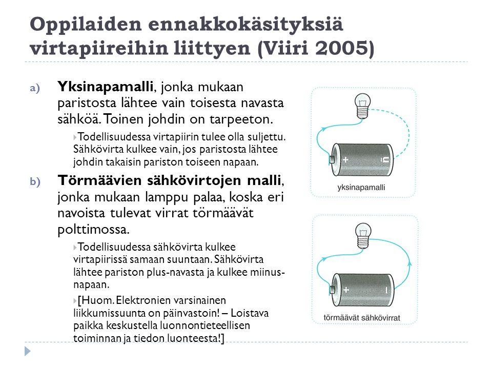Oppilaiden ennakkokäsityksiä virtapiireihin liittyen (Viiri 2005)