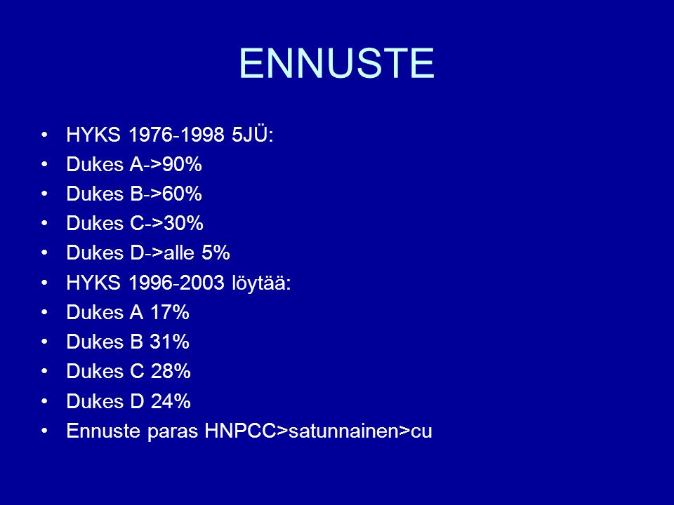 ENNUSTE HYKS 1976-1998 5JÜ: Dukes A->90% Dukes B->60%