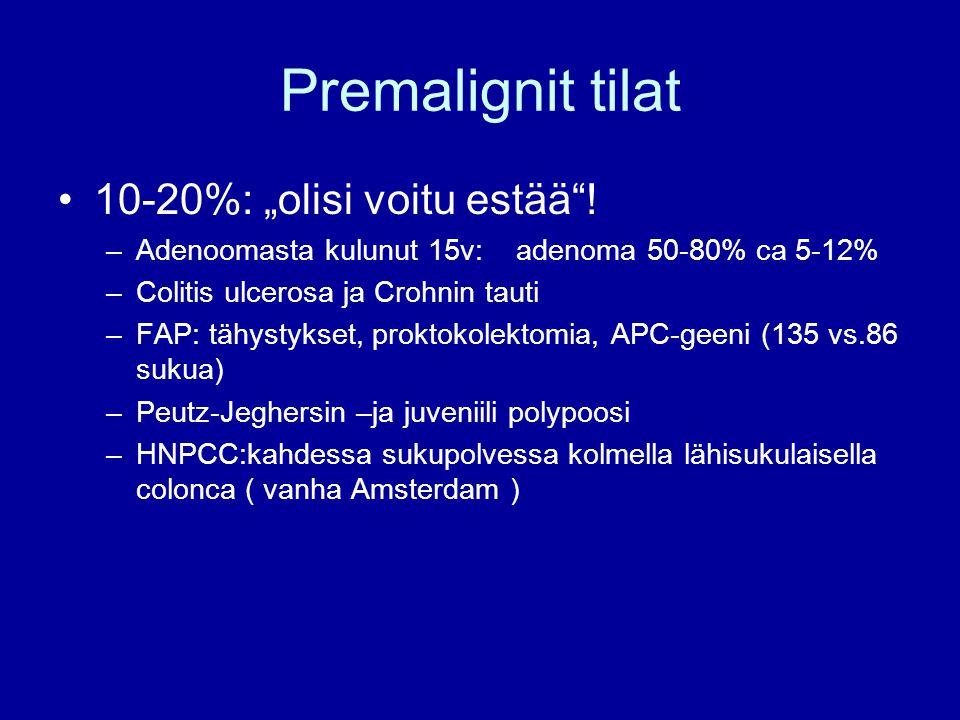 """Premalignit tilat 10-20%: """"olisi voitu estää !"""