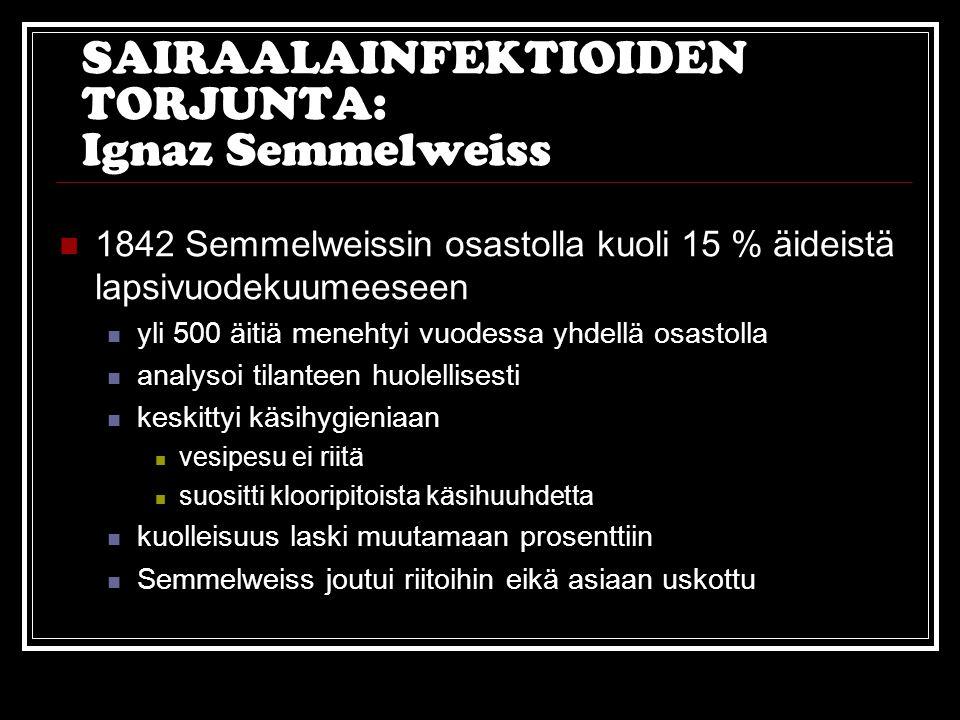 SAIRAALAINFEKTIOIDEN TORJUNTA: Ignaz Semmelweiss