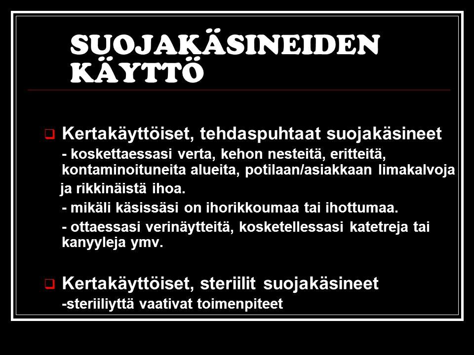 SUOJAKÄSINEIDEN KÄYTTÖ