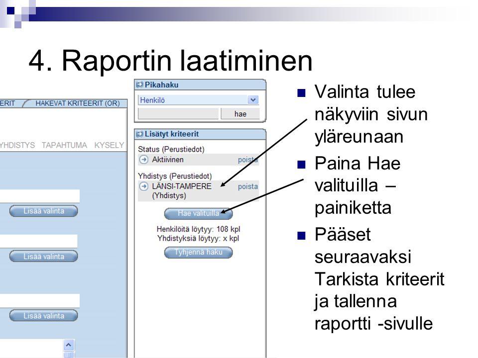 4. Raportin laatiminen Valinta tulee näkyviin sivun yläreunaan