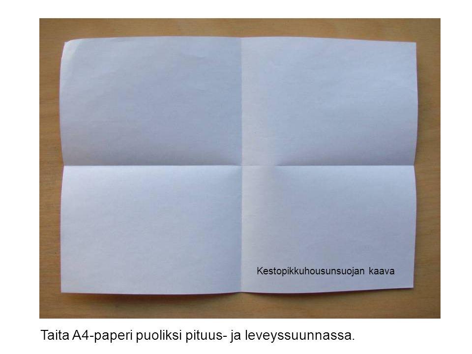 Taita A4-paperi puoliksi pituus- ja leveyssuunnassa.