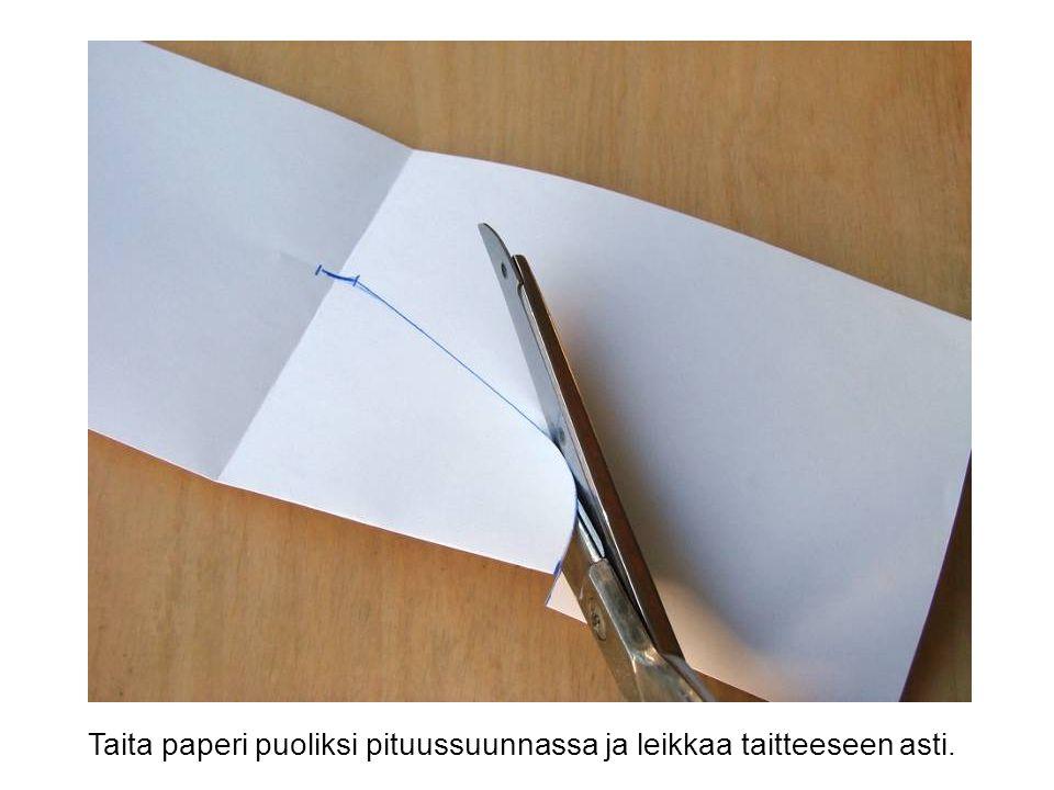 Taita paperi puoliksi pituussuunnassa ja leikkaa taitteeseen asti.