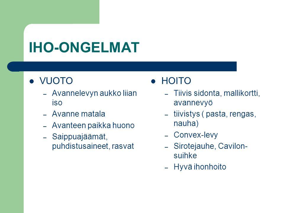 IHO-ONGELMAT VUOTO HOITO Avannelevyn aukko liian iso Avanne matala