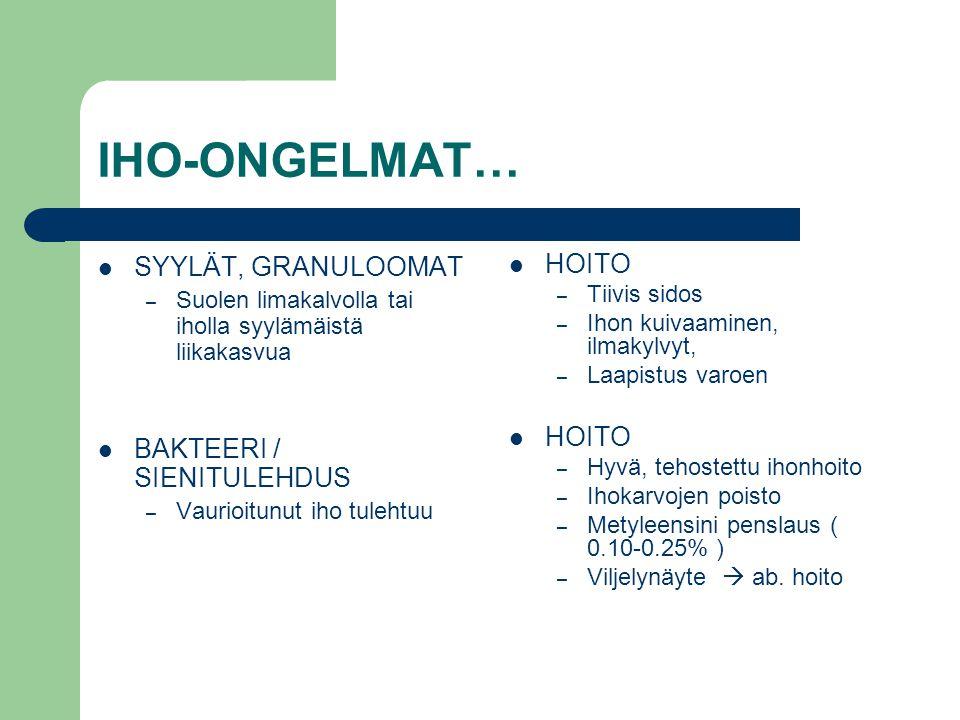 IHO-ONGELMAT… SYYLÄT, GRANULOOMAT BAKTEERI / SIENITULEHDUS HOITO