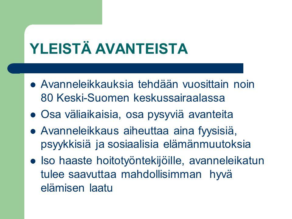 YLEISTÄ AVANTEISTA Avanneleikkauksia tehdään vuosittain noin 80 Keski-Suomen keskussairaalassa. Osa väliaikaisia, osa pysyviä avanteita.