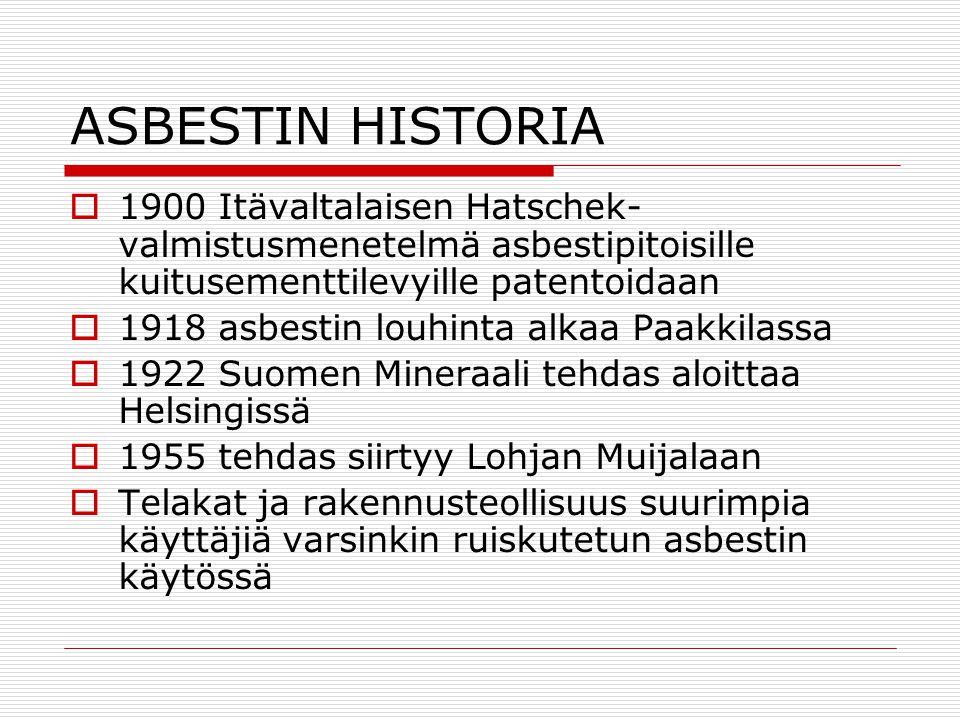 ASBESTIN HISTORIA 1900 Itävaltalaisen Hatschek-valmistusmenetelmä asbestipitoisille kuitusementtilevyille patentoidaan.