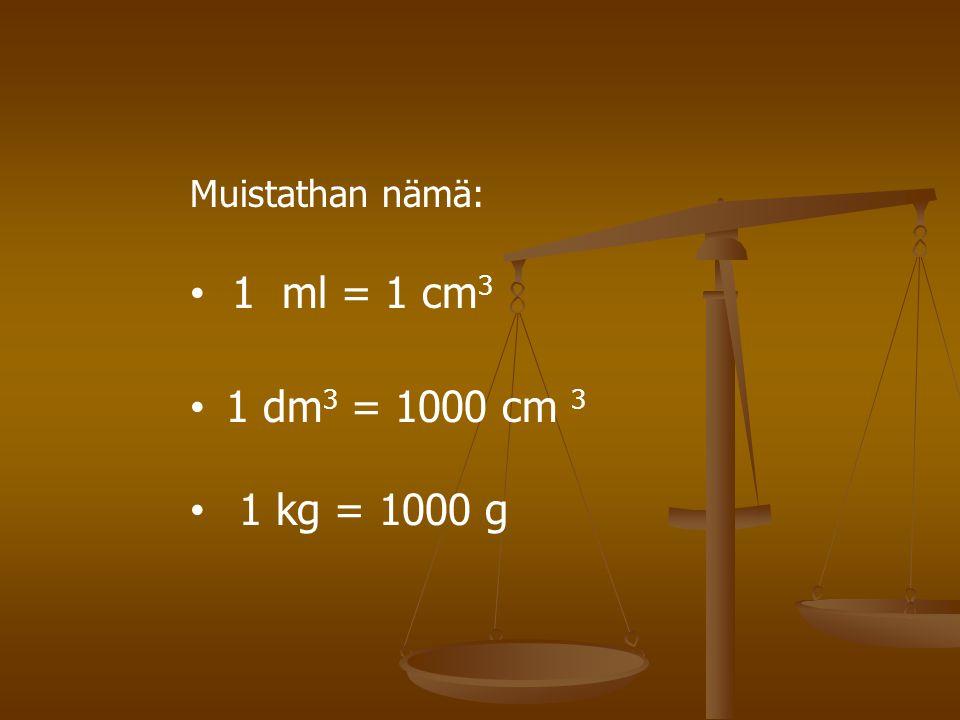 Muistathan nämä: 1 ml = 1 cm3 1 dm3 = 1000 cm 3 1 kg = 1000 g