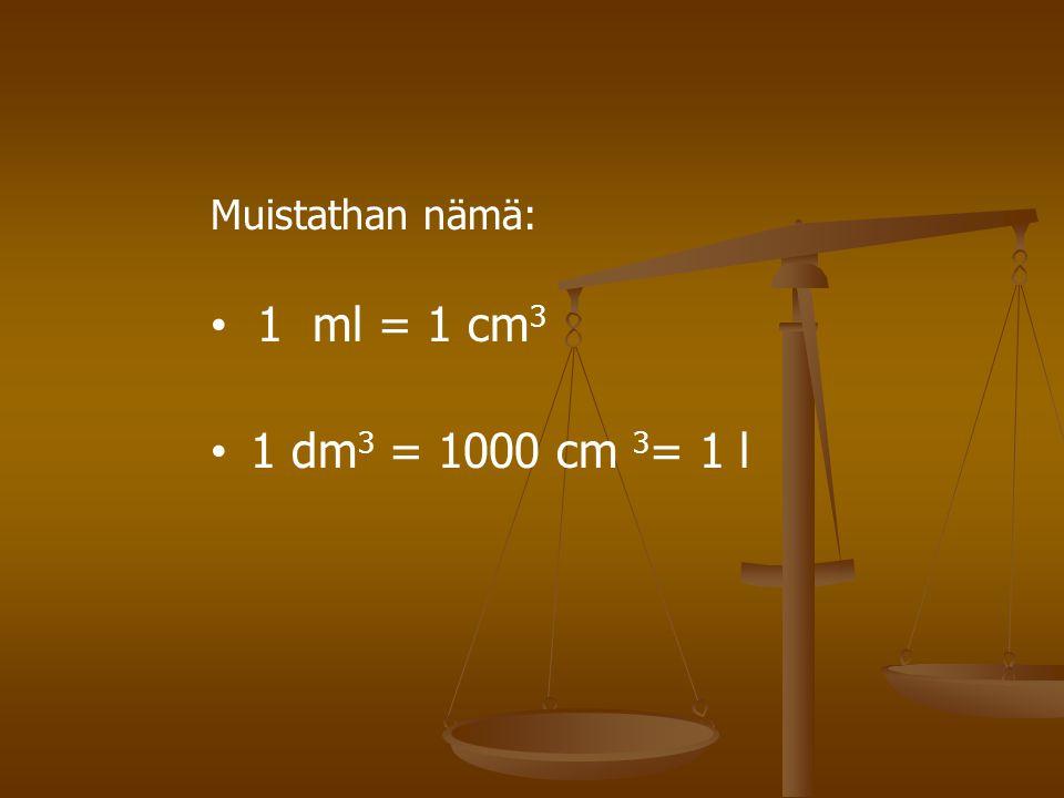 Muistathan nämä: 1 ml = 1 cm3 1 dm3 = 1000 cm 3= 1 l