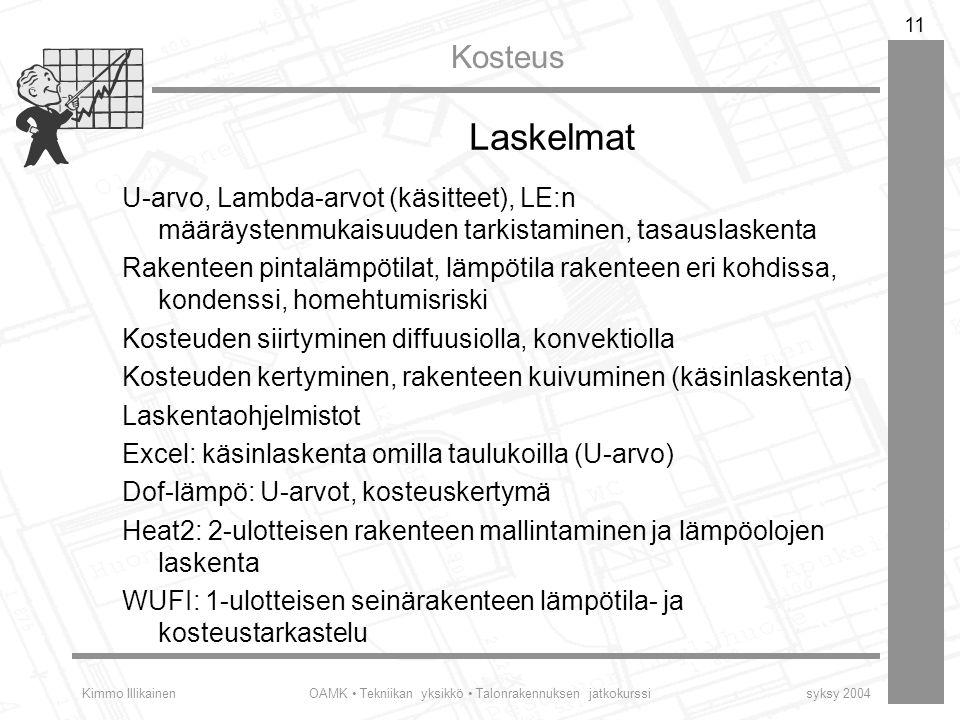 Laskelmat U-arvo, Lambda-arvot (käsitteet), LE:n määräystenmukaisuuden tarkistaminen, tasauslaskenta.