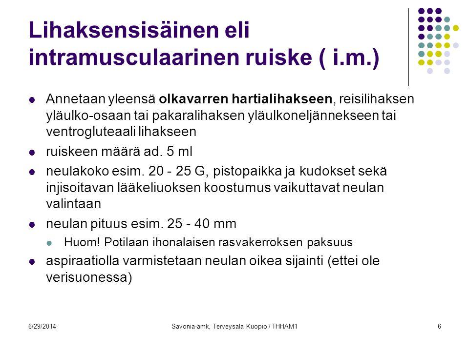 Lihaksensisäinen eli intramusculaarinen ruiske ( i.m.)