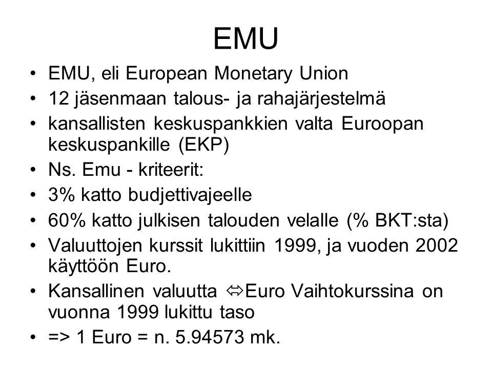 EMU EMU, eli European Monetary Union