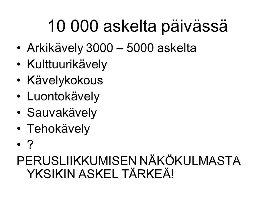 10 000 askelta päivässä Arkikävely 3000 – 5000 askelta Kulttuurikävely