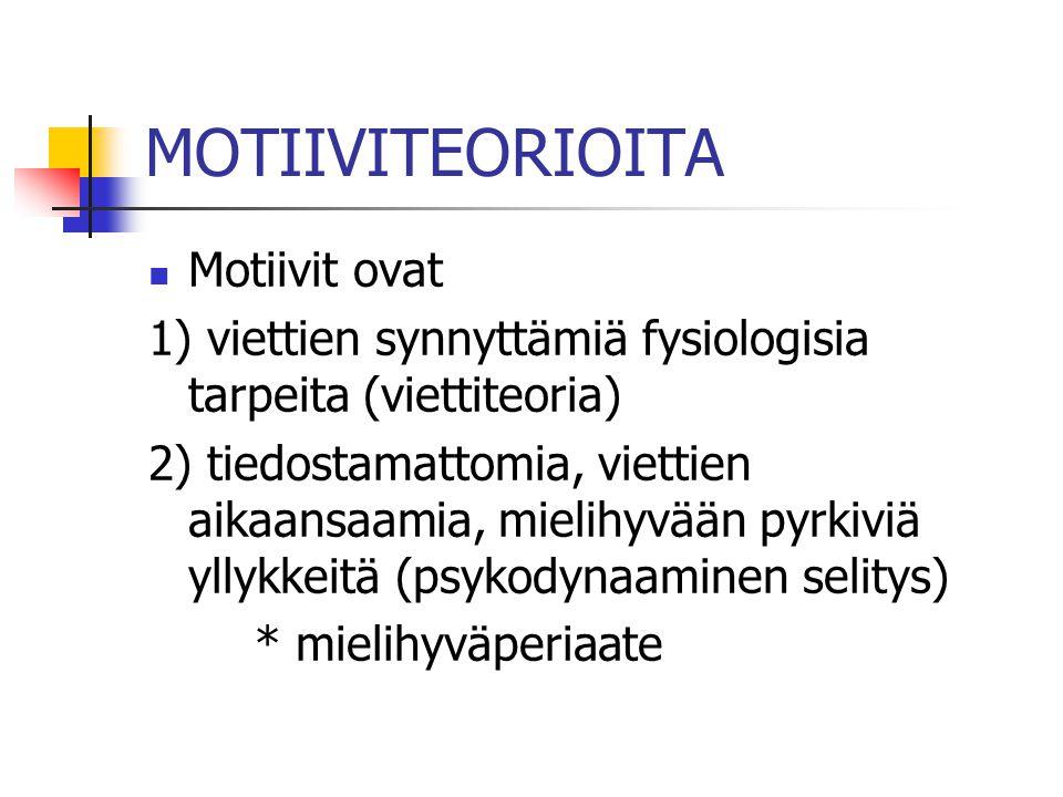 MOTIIVITEORIOITA Motiivit ovat
