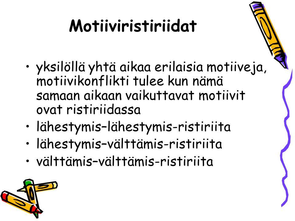 Motiiviristiriidat yksilöllä yhtä aikaa erilaisia motiiveja, motiivikonflikti tulee kun nämä samaan aikaan vaikuttavat motiivit ovat ristiriidassa.
