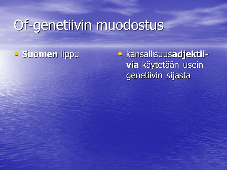 Of-genetiivin muodostus